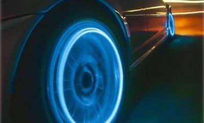 Neon Blue Strobe LED Tire Valve Caps