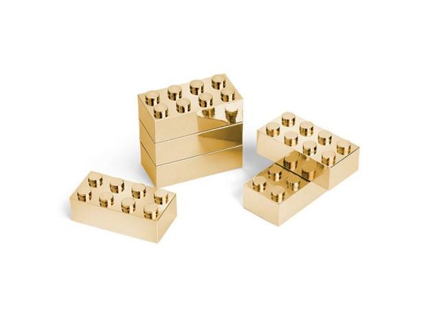 Gold Plated Metal Building Brick Set (3)