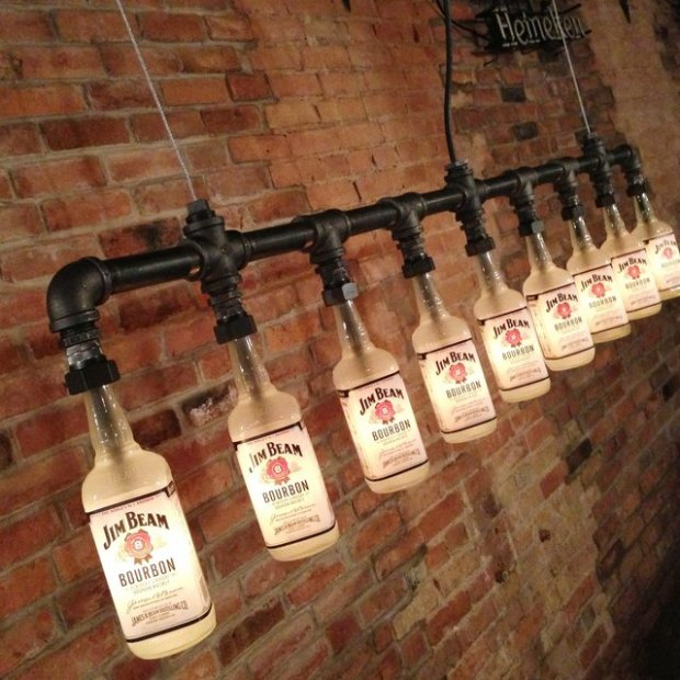 Iron Pipe Bottle Lamp Industrial Chandelier