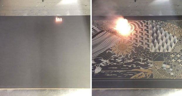 Digital Artworks Into Actual Canvases UsingLasers