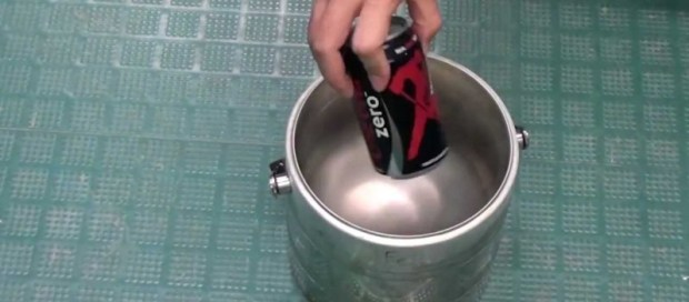 This Is What Happens When You Drop A Coke Can In A Bucket Of Liquid Nitrogen