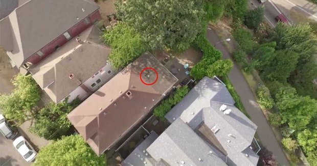Guy Rescues His Old Drone With His New Drone From Neighbors Roof