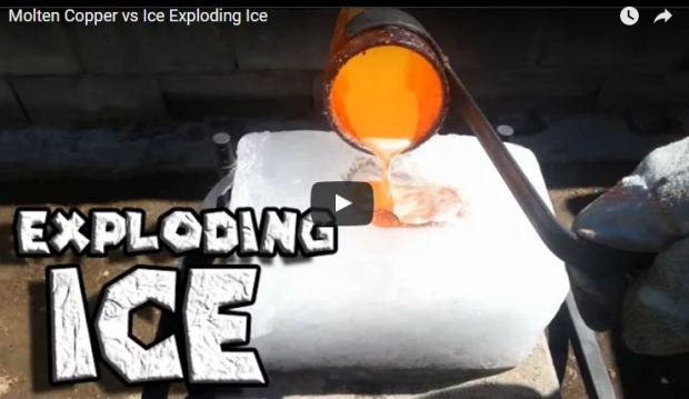 Want To Know What Happens When Molten Copper Meets Ice