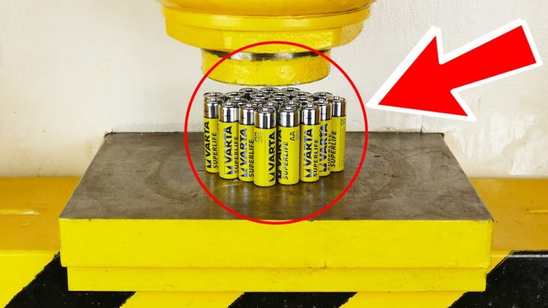 Watch What Happens When You Flatten Batteries With A Hydraulic Press