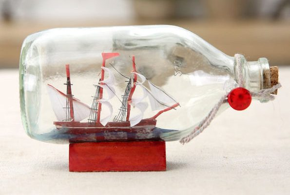 Nautical Table Top Sailboat in Drift Bottle