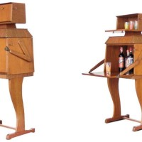 A Gorgeous Vintage Wooden Robot Bar Inspired by the 1969 Apollo 11 Lunar Mission
