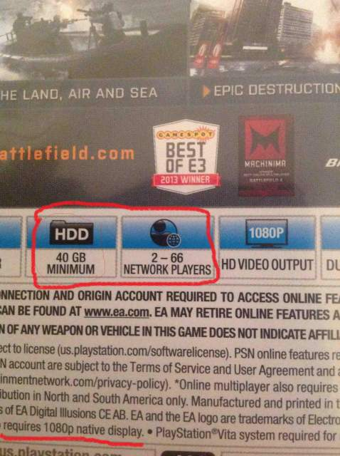 Battlefield 4 PS4 Back Cover 40 GB HDD Space Needed For Installation Supports 66 Player Online