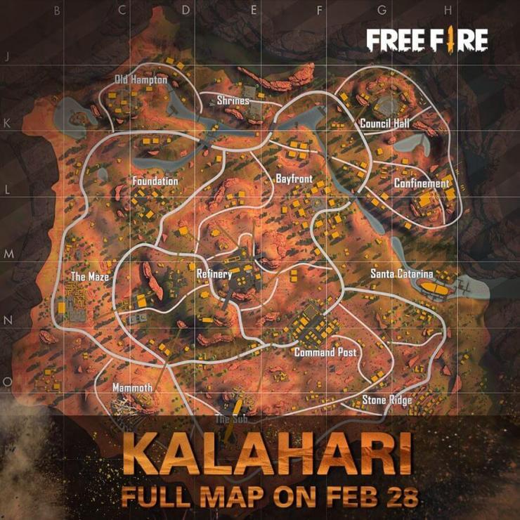 Free Fire mapa de Kalahari
