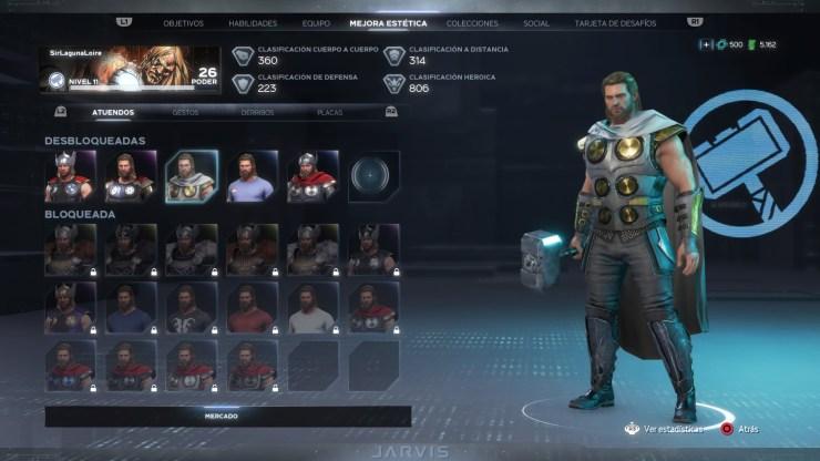 Avengers juego trajes