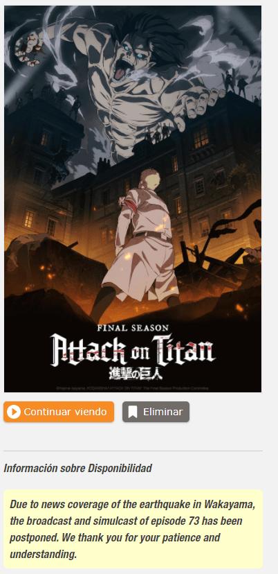 Attack on Titan Shingeki no Kyojin episodio 73