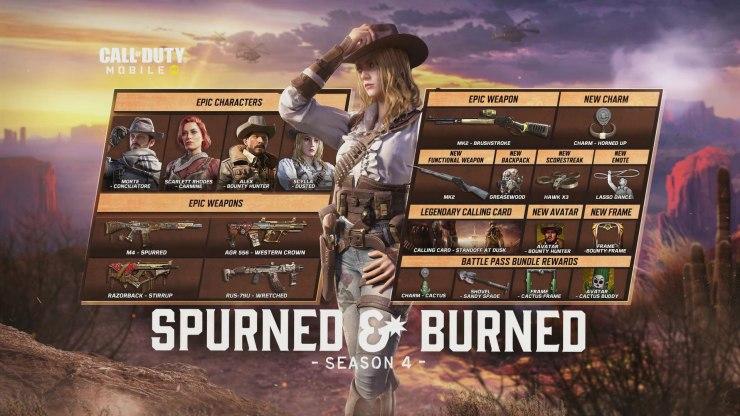 Call of Duty: Mobile recibe 'Desechado y quemado', una temporada 4 con temática de vaqueros pase temporada spurned & burned
