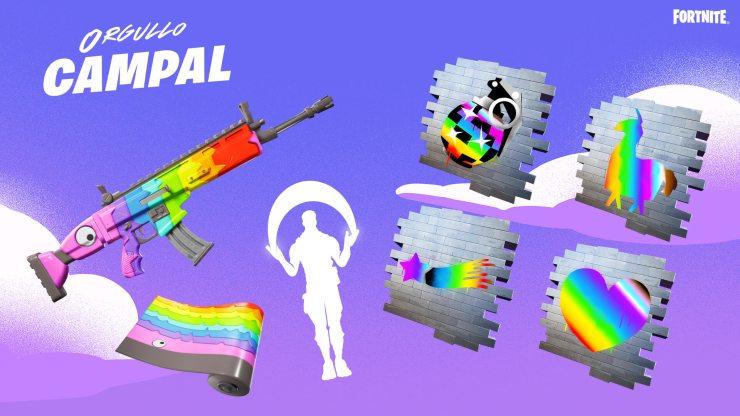 Fortnite celebra la comunidad LGBTI con cosméticos gratis en el arcoíris del orgullo campal