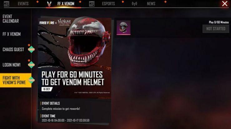 Free Fire: así es el evento y las recompensas de Venom: Carnage Liberado casco