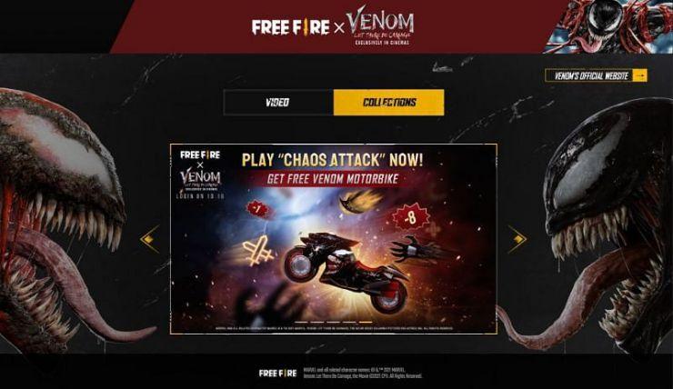 Free Fire: así es el evento y las recompensas de Venom: Carnage Liberado moto