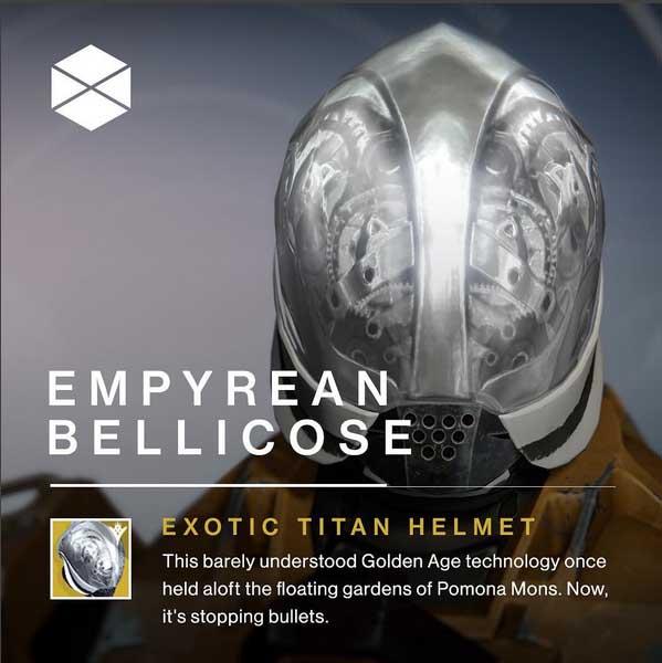 Destiny Empyrean bellicose exotic titan helmet