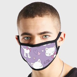 Animal Cartoon Little Cute Cat Purple Non Medical 3 Ply Face Mask