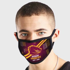 Brisbane Broncos NRL Non Medical 3 Ply Face Mask