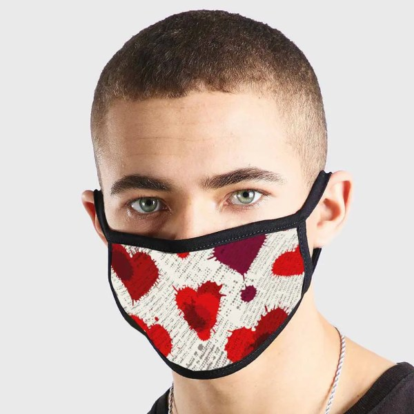 Cute Love Hearts Red White Non Medical 3 Ply Face Mask