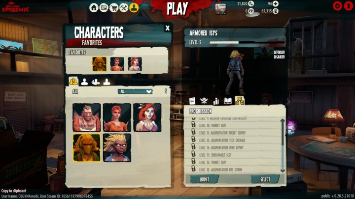 The character screen