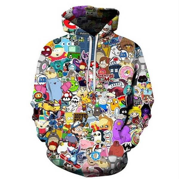 gamer-protocol-cartoon stickers hoodie - Front