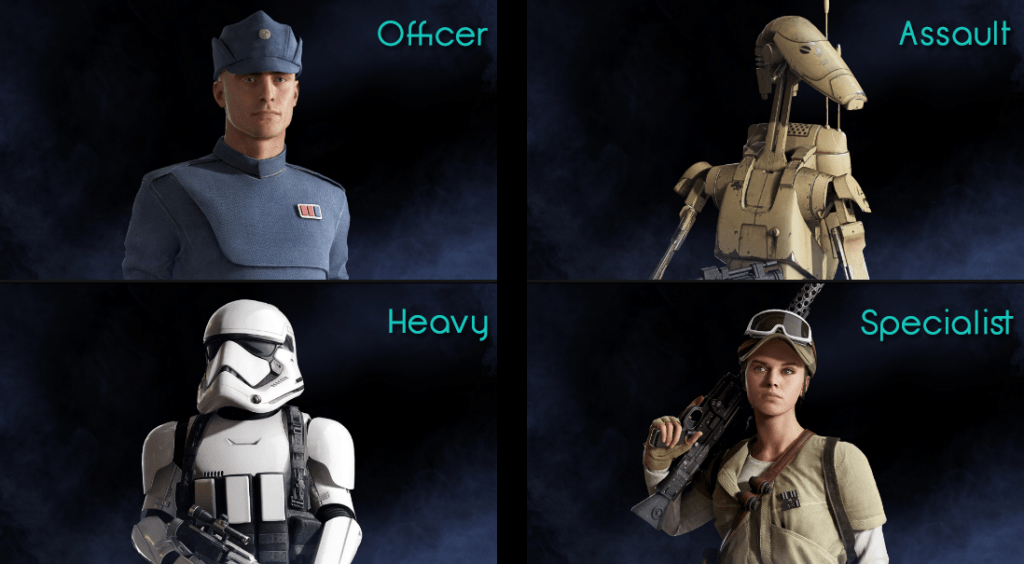 Star Wars Battlefront II classes L to R Officer Assault Heavy Specialist