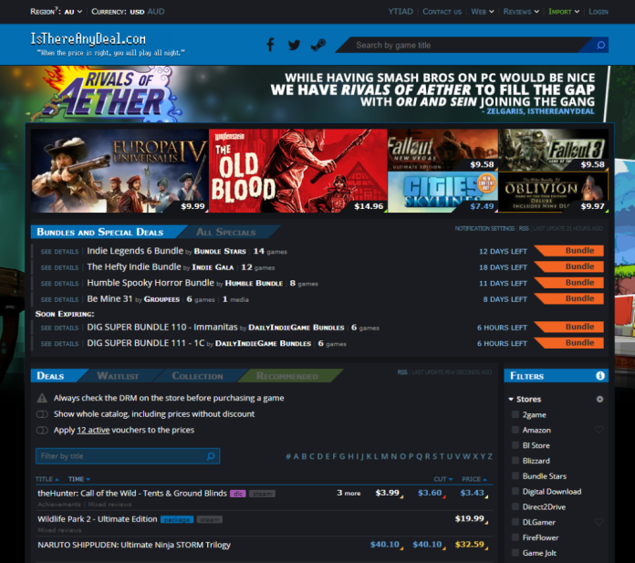 Isthereanydeal.com front page screenshot pc game sales