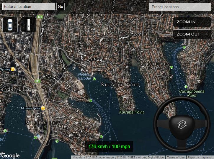 2D Driving Simulator Goole Maps
