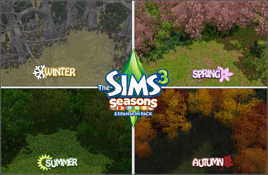 The Sims 3 Seasons expansion pack example of 4 seasons