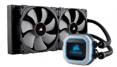 This image shows the Corsair H100i Pro liquid cooler.