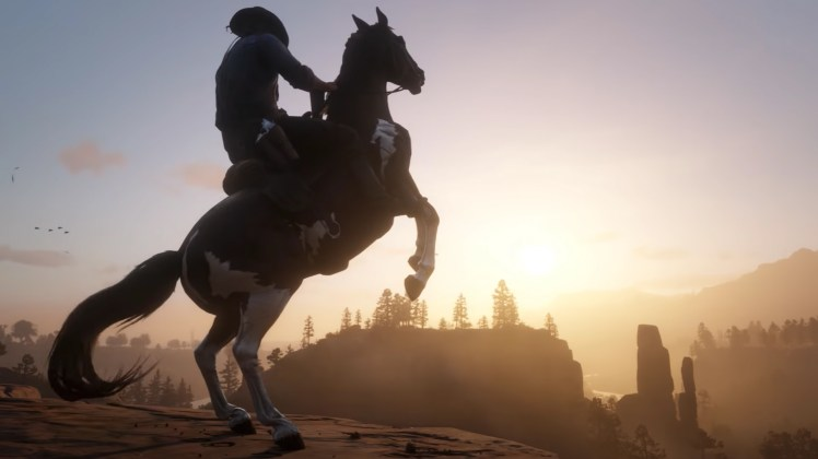 This image is a screenshot from the gameplay reveal of the Red Dead Redemption 2.