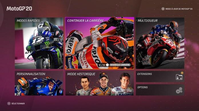 Menu_MotoGP20 Mon avis sur Moto GP20 - Wheeling power !