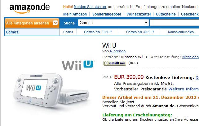 Wii U zu Weihnachten jetzt 349€?