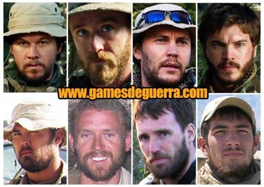 Atores (fileira de cima) e os soldados reais que representaram (fileira de baixo) em O Grande Herói - Lone Survivor
