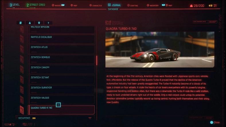 Daftar Kendaraan Cyberpunk 2077