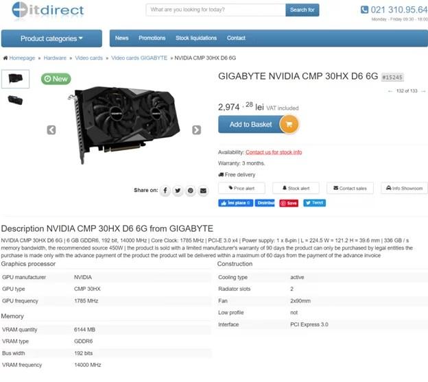 Gigabyte CMP 30HX Retail