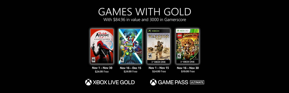 Xbox Games With Gold de Novembro Revelados