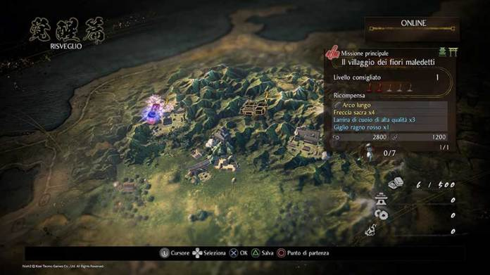 nioh 2 recensione ps4 mappa missioni