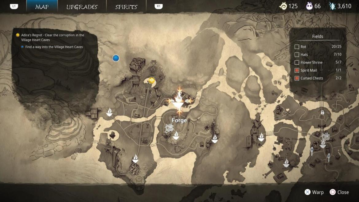 You can find the Forge in the north of the Fields area, on the way to the Village Heart.