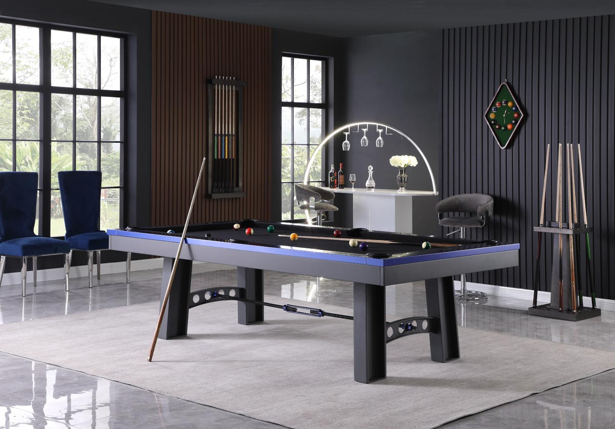 Cleaning expensive pool table fabric gives it longevity. 8 Xander Pool Table Charcoal Powder Coat With Electric Blue Gametablesonline Com