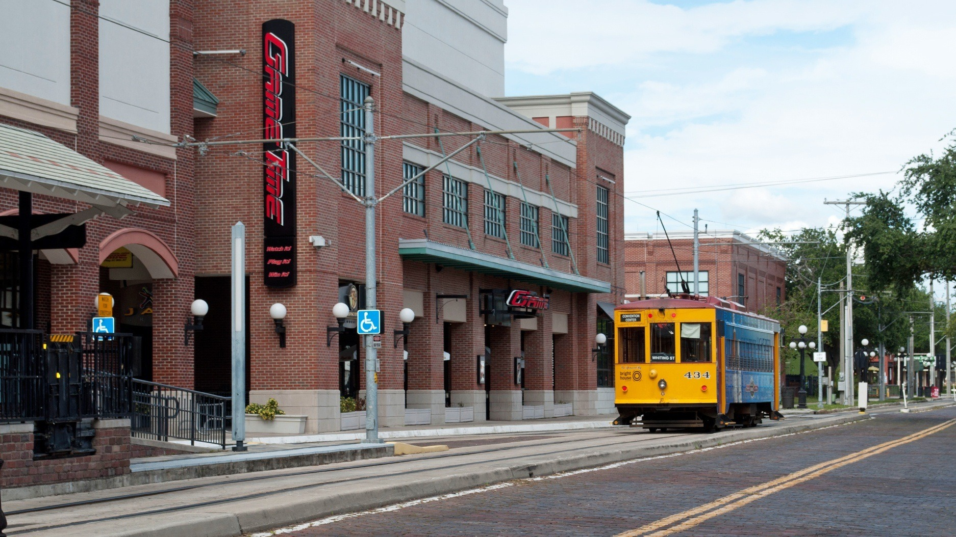 GameTime Tampa Ybor City Centro Ybor full entrance view with trolly