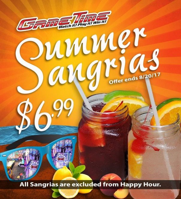 Summer-sangrias-GameTime-Miami Tampa Fort Myers Bar Restaurant Arcade Family Entertainment