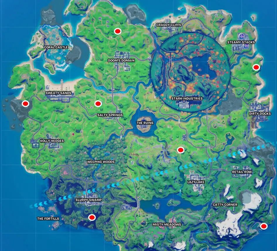 Fortnite Witch Shacks Location Map