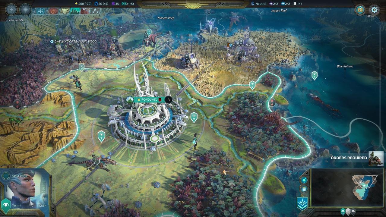 Die Weltkarte von Age of Wonders: Planetfall