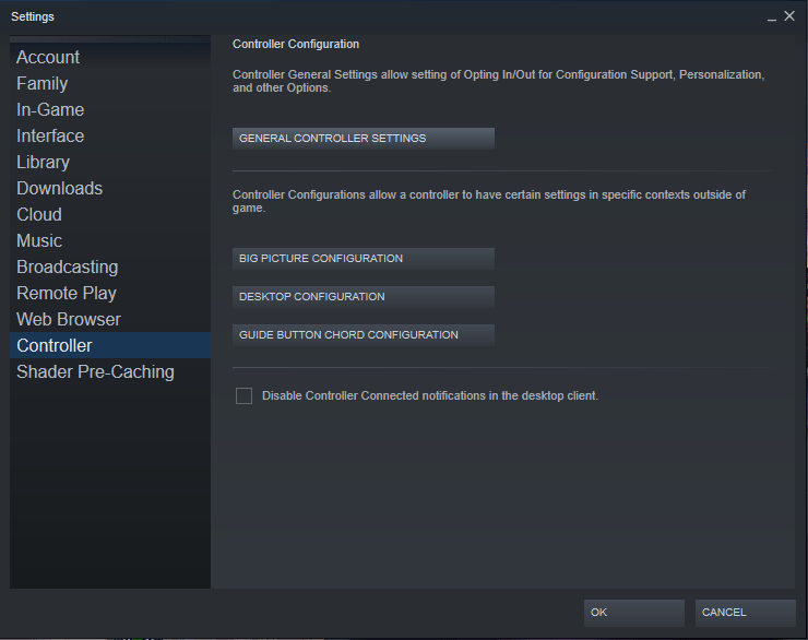 Inside the controller section of steam's settings.
