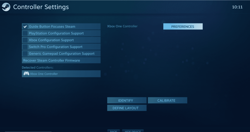 Switch Pro settings on Steam's controller settings section.