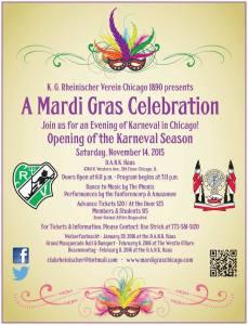 Rheinischer Verein Mardi Gras Society of Chicago Opening of Karneval Nov 14th.