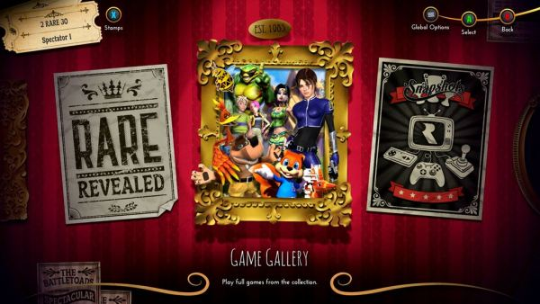 Rare replay  menu