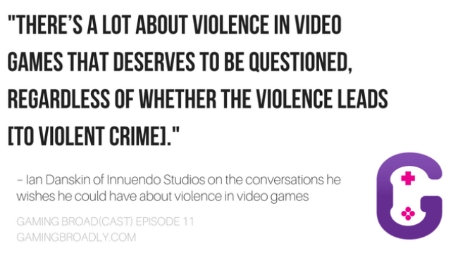 """There's a lot about violence in video games that deserves to be questioned, regardless of whether the violence leads [to violent crime]."" - Ian Danskin of Innuendo Studios on the conversations he wishes he could have about violence in video games"