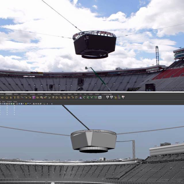 Development screenshot along with actual photo from Bristol Motor Speedway.