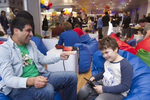 Photos of Nintendo Icon Mario and Kids, Parents and Fans
